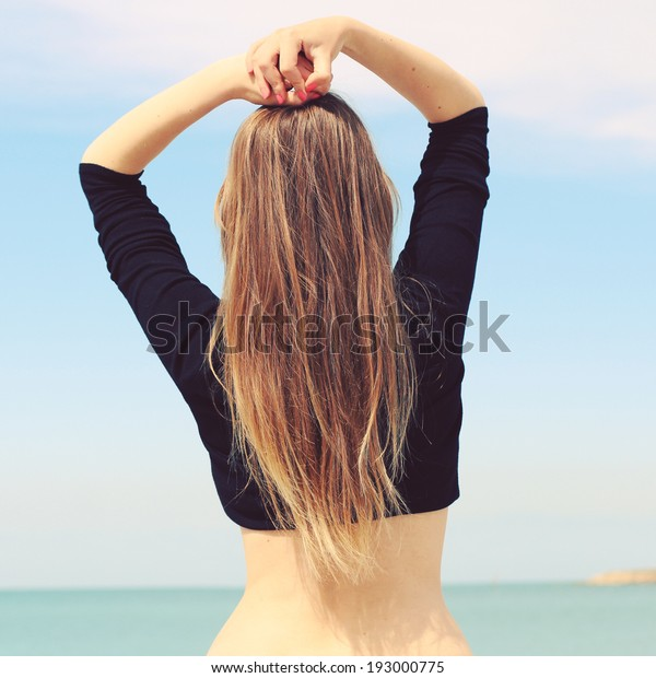 Girl Beautiful Figure Stands His Back Stock Photo Edit Now 193000775