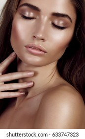 Girl with a beautiful make-up.higlight.brunette