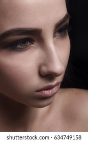 Girl with beautiful make-up.Smokey Eyes.