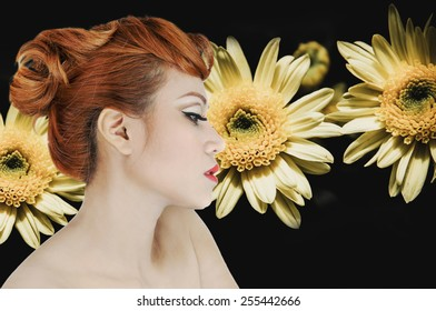 Girl with beautiful view Background with flowers Charming, attractive