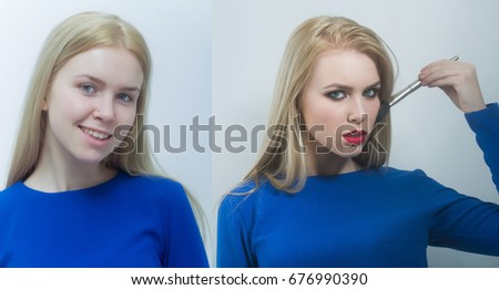 Girl Before After Makeup Happy Woman Stock Photo (Edit Now