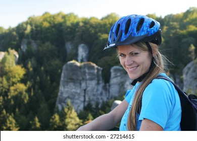 Girl with a bicycle helmet