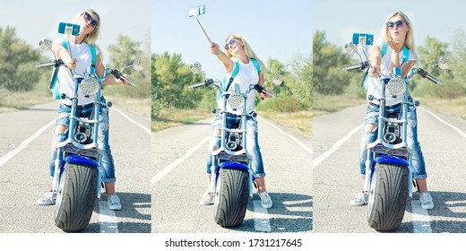Girl biker sits on a motorcycle and photographed. Relax after the trip.