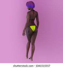 girl in a bikini, 3d model