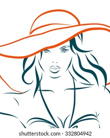 The girl in bikini and hat on a white background. illustration.
