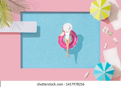 Girl in bikini sunbathing in swimming pool in inflatable pool toy. Minimal summer holiday concept background. Tropical party top view.