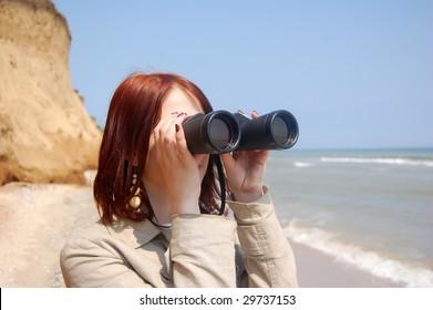 Girl with  binocular 1