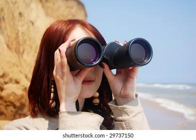 Girl with  binocular 2