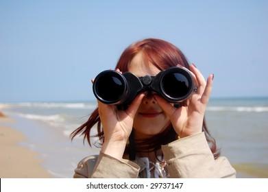 Girl with  binocular 3