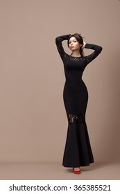 The girl in a black dress
