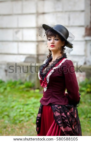 Girl Black Hair Style 19th Century Stock Photo (Edit Now) 580588105 ... 5bc17462689