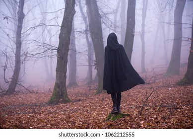 Girl in black hood standing on a stump deep in a dark forest. Waiting for magic to happen. Thick fog all around. Scary autumn scene