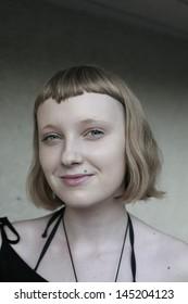 girl in black  on white background