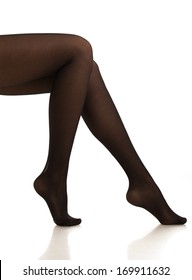 girl in black pantyhose. Isolated.