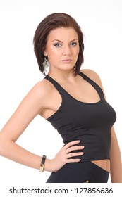girl in a black shirt and leggings