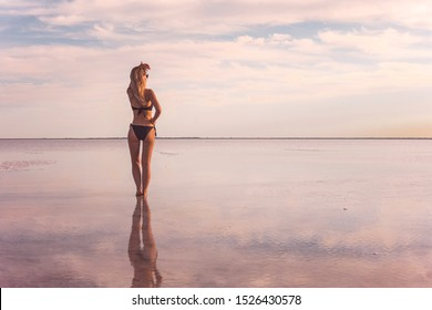 A girl in a black swimsuit on the background of the salty sea of the lake. girl a reflection in the water. Woman alone with nature in a swimsuit. model looks into the distance. The view from the back