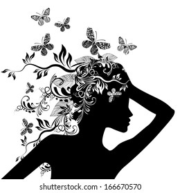 girl black and white floral abstraction. Raster