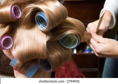 Girl with Blond Hair in rollers