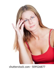 Girl with blond hair wearing glasses solving problems in her mind