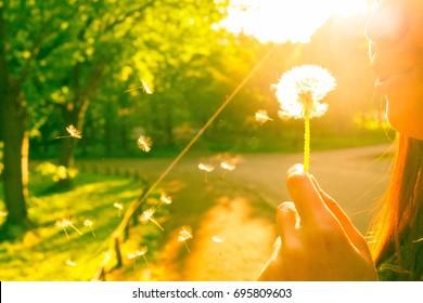 girl blowing dandilion seed
