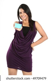 girl with blue credit card