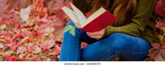 Girl in blue jeans sitting among colorful ivy in autumn and reading a book in red cover.