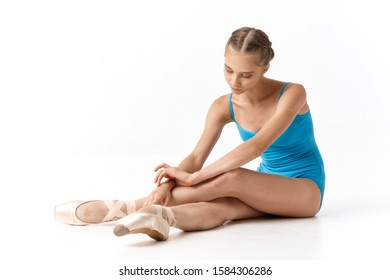 Girl blue leotard ballet model