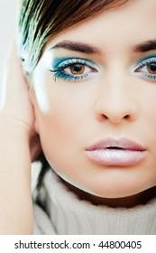 Girl with a blue makeup portrait