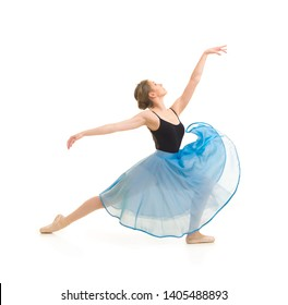 Girl in a blue skirt and a black leotard dance ballet. Studio shot on white background , isolated images.