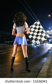 Girl in Blue Skirt and with Plaid Flag, Street-racings