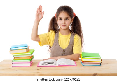 Girl with books and raises his hand up, isolated on white