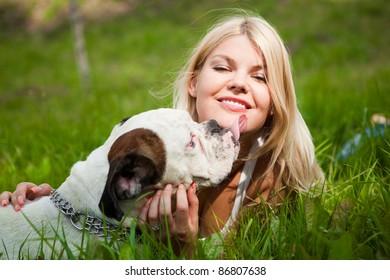The girl and Boxer dog