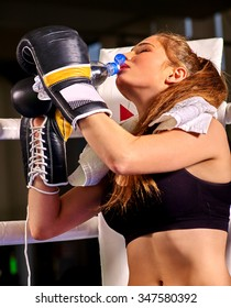 Girl boxer wearing gloves drinking bottle water sitting in corner of boxing ring.
