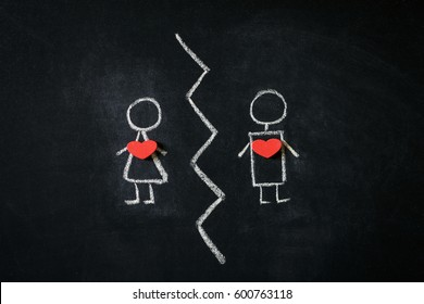 A girl and a boy drawn on a blackboard representing break up