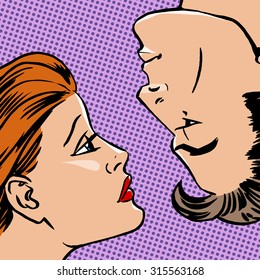 Girl and boy face to face the love of youth beauty Halftone style art pop retro vintage
