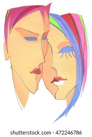 The girl and the boy face to face on white background