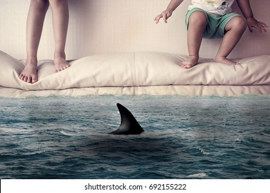 girl and boy run away from shark attack in flooded room, threat of big business, panic disorder concept