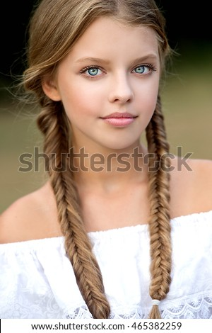 girl braided pigtails portrait braids stock photo edit