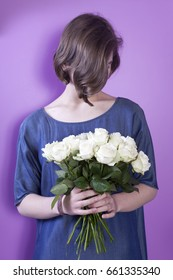 Girl with bridal bouquet in her hands