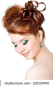 A girl with bright make-up, white background