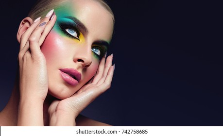 Girl with a bright make-up.fashion, beauty, makeup, accessories, make-up artist, boutique, beauty salon.