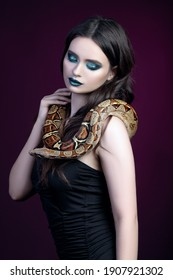 girl brunette green make up eyes close up portrait with a snake yellow brown mottled python on black pink background