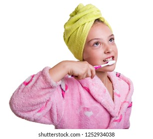 The girl brushes her teeth. Oral hygiene. Image on a white background.