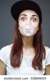 Girl  bubble gum