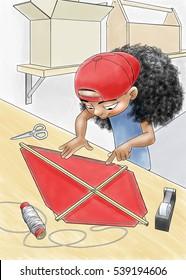 A girl builds a kite.