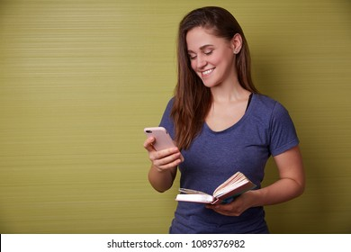 Girl buisnesswoman student with phone and note book smiling and working