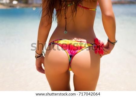 Girl Butt In Rainbow Bikini