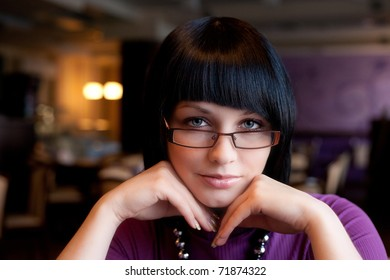 girl in cafe face portrait