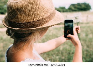 girl with camera, phone photography.