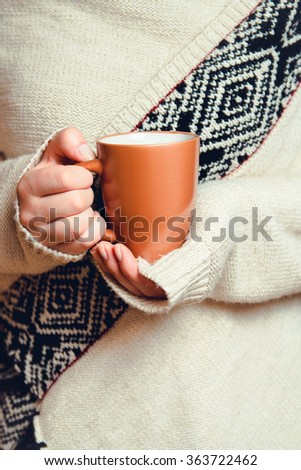 8b3985689d9 Girl Cardigan Holding Cup Coffee Closeup Stock Photo (Edit Now ...